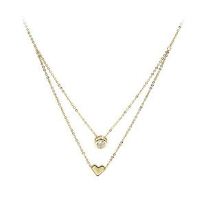 Gold small love circle crystal necklace